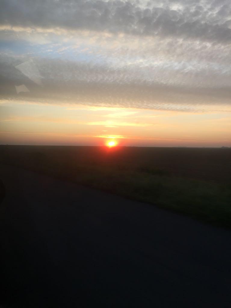 levé de soleil au départ